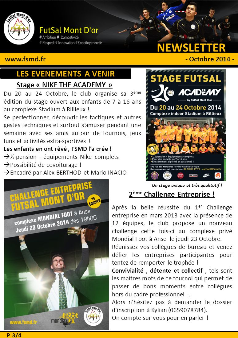 NEWSLETTER # 1 LES EVENEMENTS A VENIR Stage « NIKE THE ACADEMY »