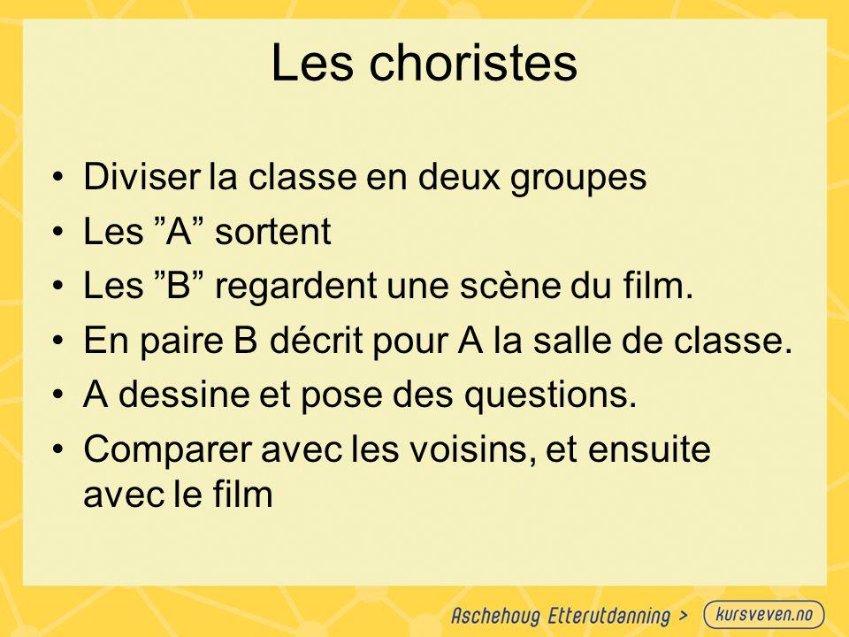 Les choristes Diviser la classe en deux groupes Les A sortent