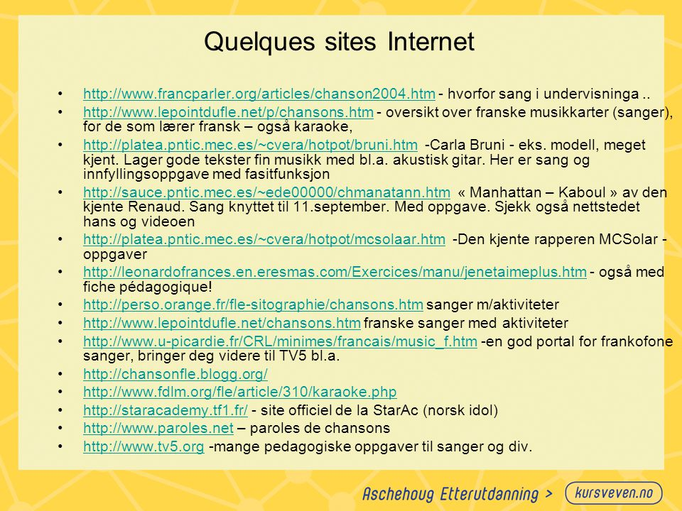 Quelques sites Internet