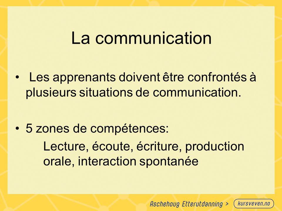 La communication Les apprenants doivent être confrontés à plusieurs situations de communication. 5 zones de compétences:
