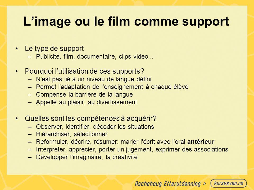 L'image ou le film comme support