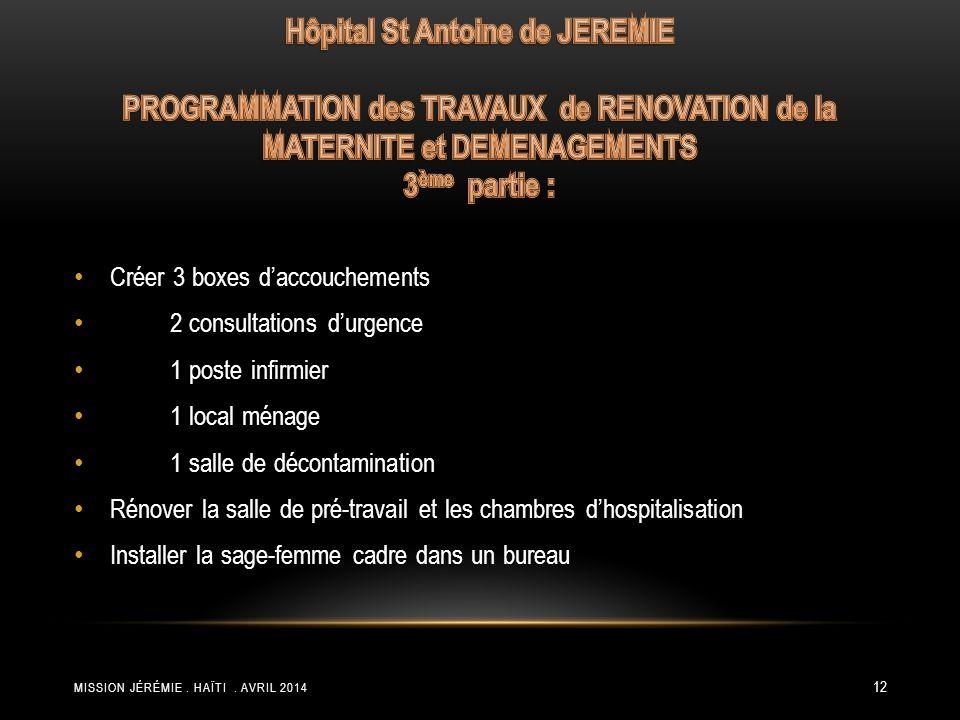 Hôpital St Antoine de JEREMIE PROGRAMMATION des TRAVAUX de RENOVATION de la MATERNITE et DEMENAGEMENTS 3ème partie :