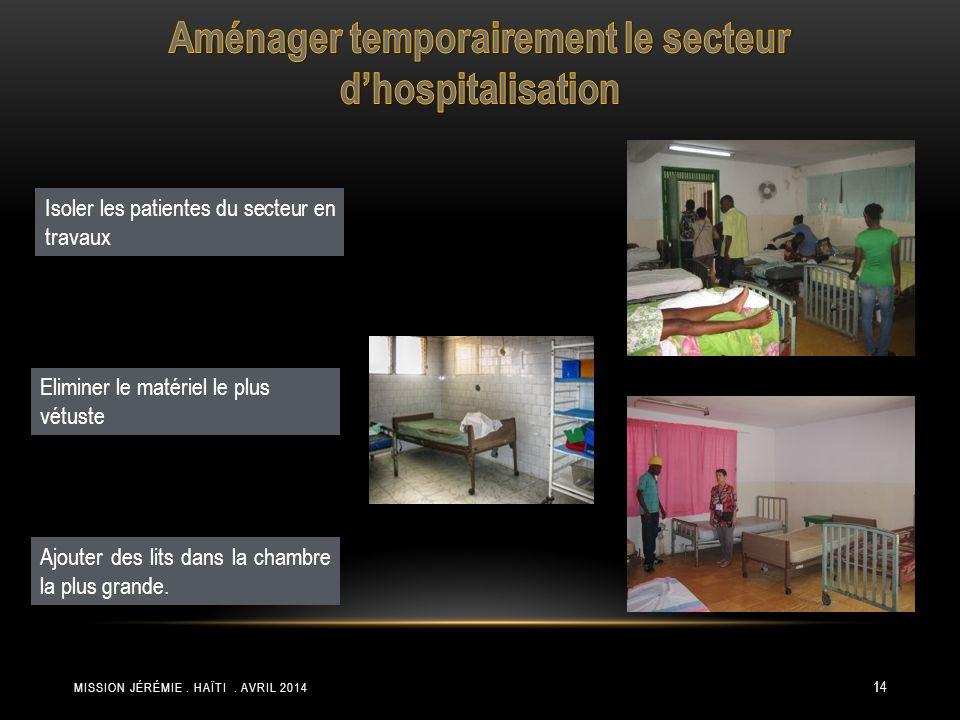 Aménager temporairement le secteur d'hospitalisation