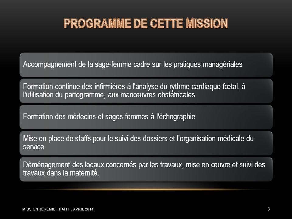 PROGRAMME DE CETTE MISSION