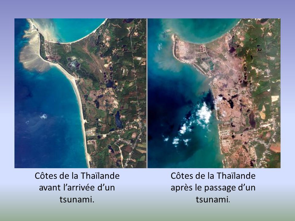 Côtes de la Thaïlande avant l'arrivée d'un tsunami.