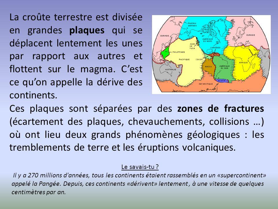 La croûte terrestre est divisée en grandes plaques qui se déplacent lentement les unes par rapport aux autres et flottent sur le magma. C'est ce qu'on appelle la dérive des continents.