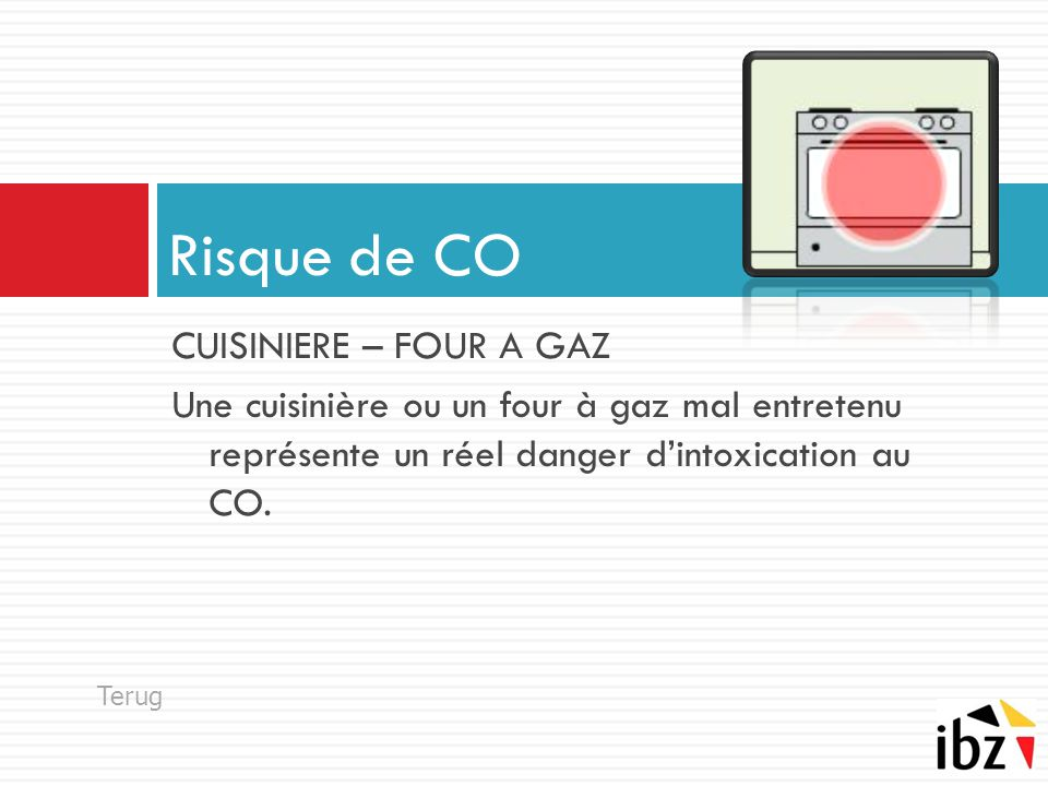 Risque de CO CUISINIERE – FOUR A GAZ