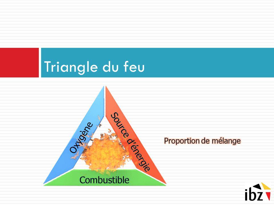 Triangle du feu Source d'énergie Oxygène Combustible
