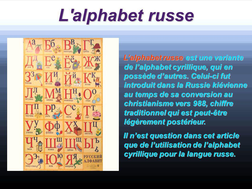 L alphabet russe a.