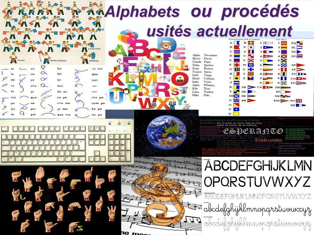 Alphabets ou procédés usités actuellement