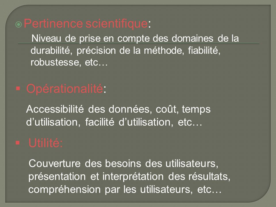 Pertinence scientifique: