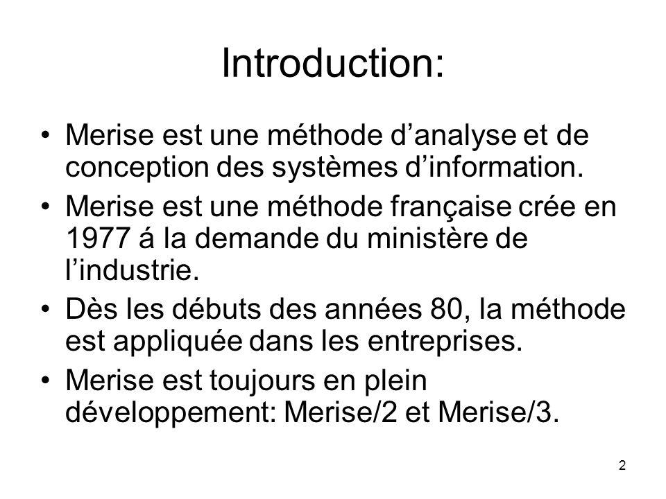 Introduction: Merise est une méthode d'analyse et de conception des systèmes d'information.