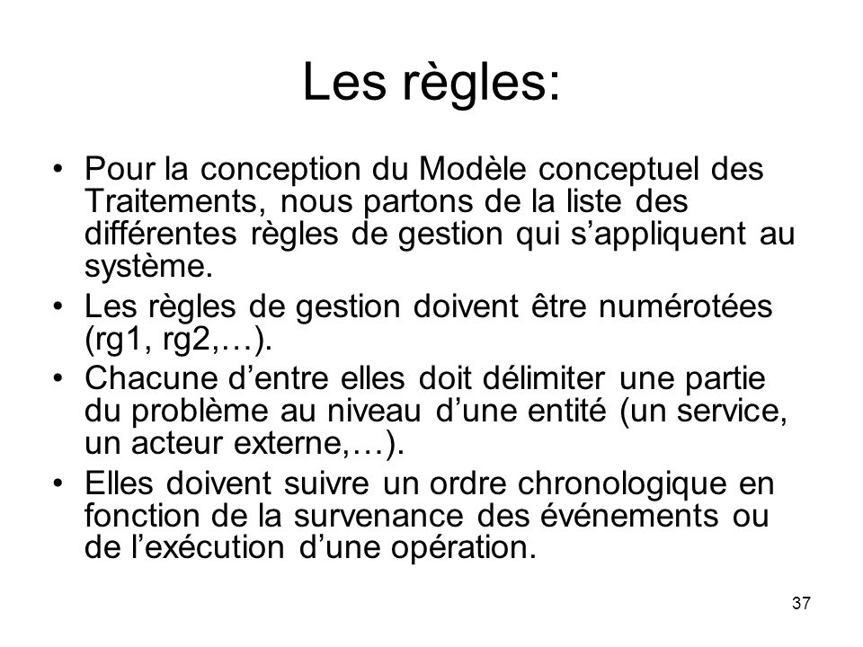 Les règles: