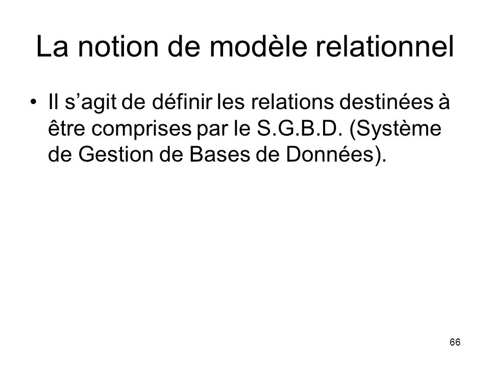 La notion de modèle relationnel