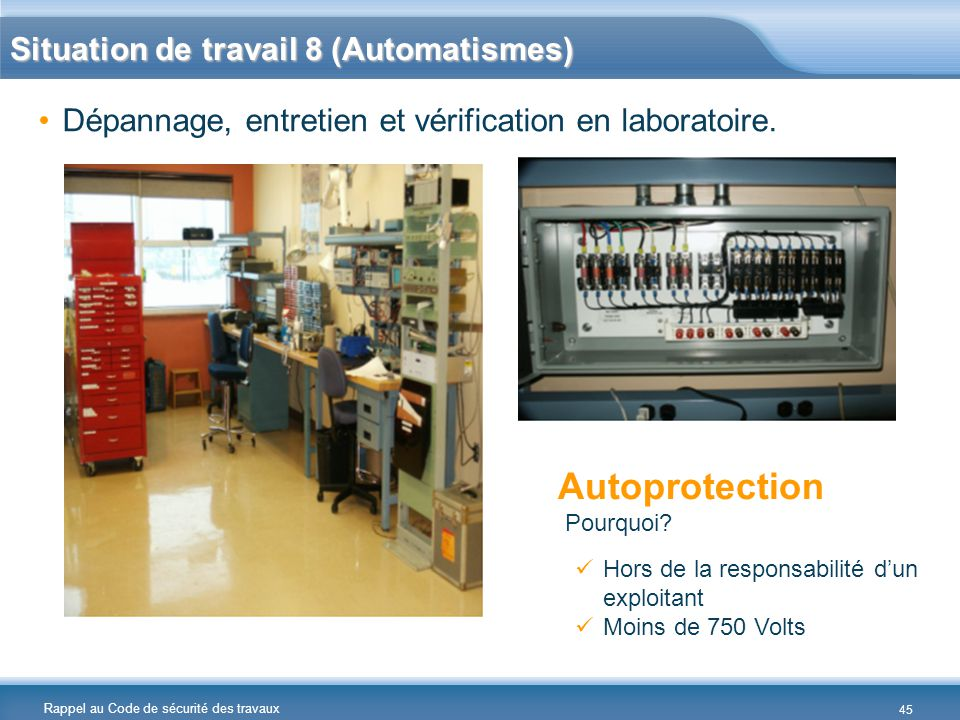 Autoprotection Situation de travail 8 (Automatismes)