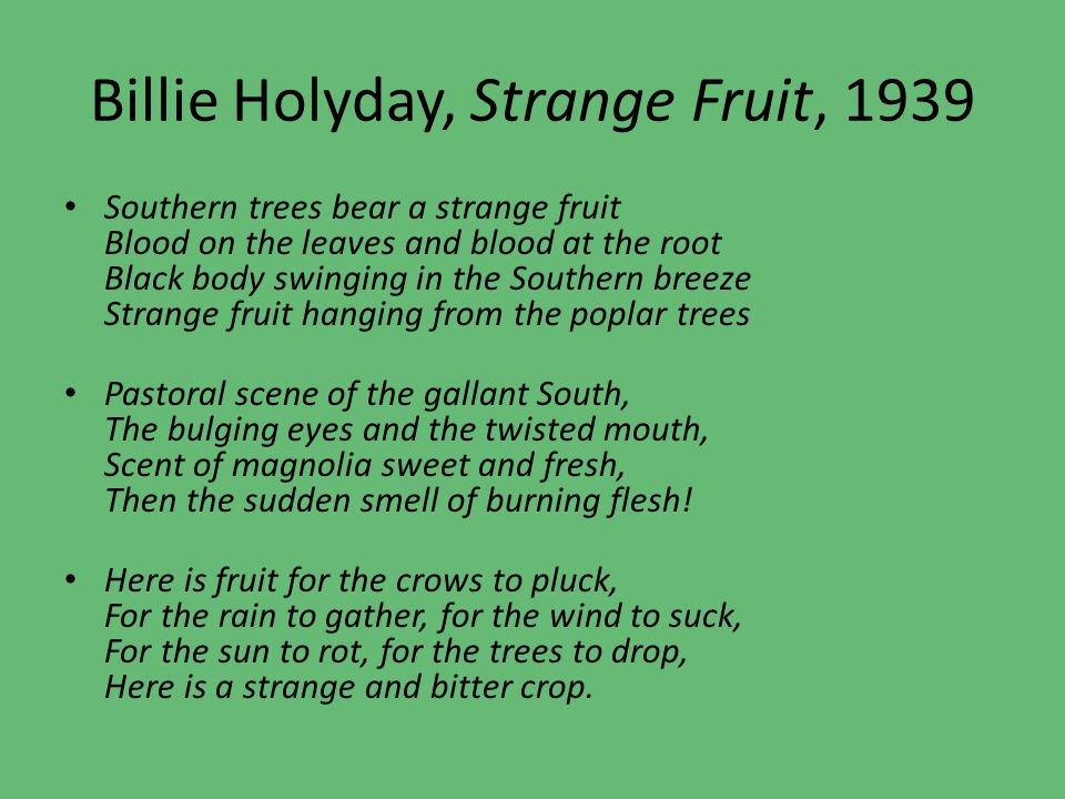 Billie Holyday, Strange Fruit, 1939