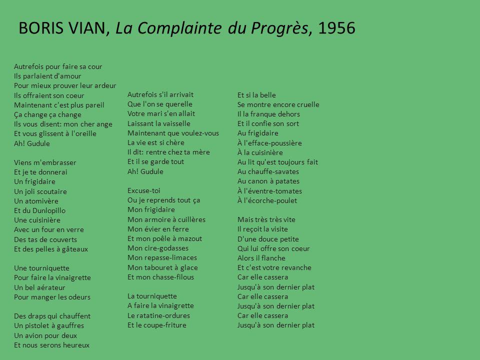 BORIS VIAN, La Complainte du Progrès, 1956