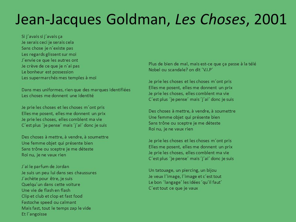 Jean-Jacques Goldman, Les Choses, 2001