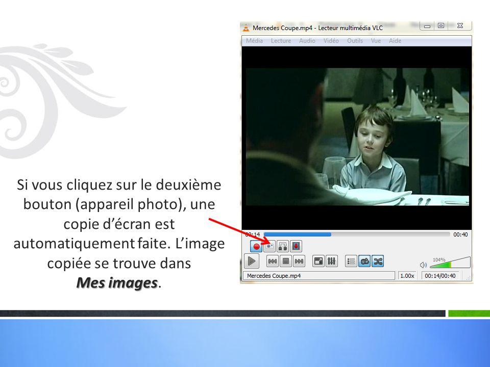 Si vous cliquez sur le deuxième bouton (appareil photo), une copie d'écran est automatiquement faite. L'image copiée se trouve dans