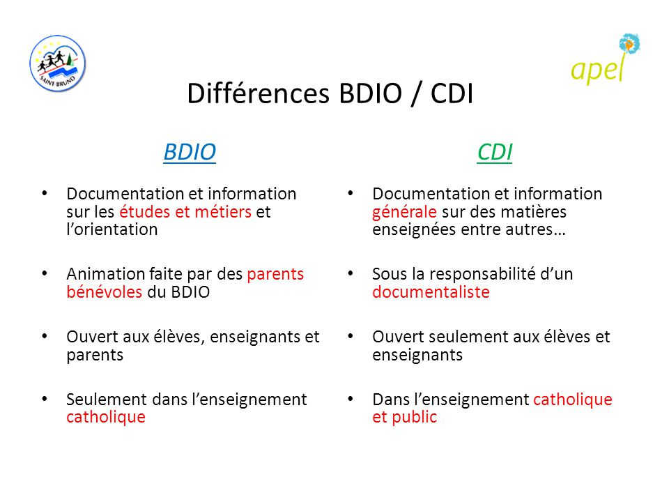 Différences BDIO / CDI BDIO CDI