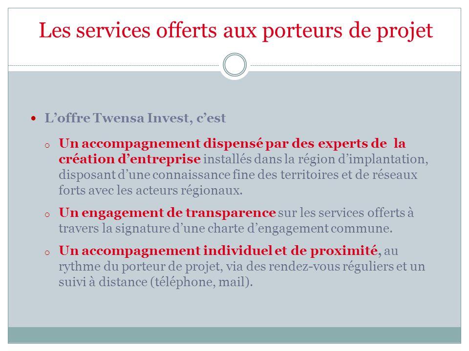 Les services offerts aux porteurs de projet