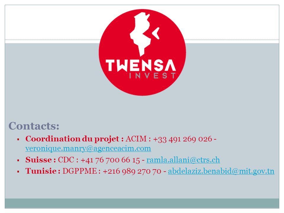 Contacts: Coordination du projet : ACIM : +33 491 269 026 - veronique.manry@agenceacim.com. Suisse : CDC : +41 76 700 66 15 - ramla.allani@ctrs.ch.