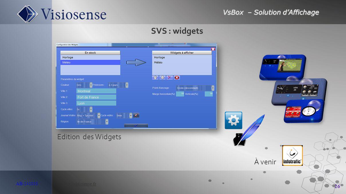 SVS : widgets Edition des Widgets À venir