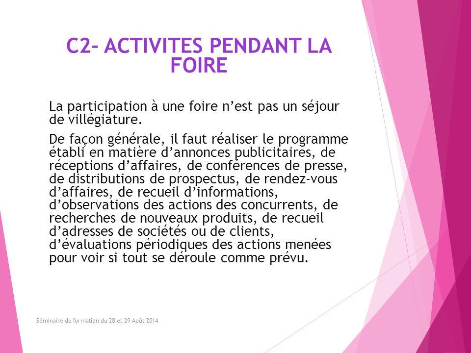 C2- ACTIVITES PENDANT LA FOIRE