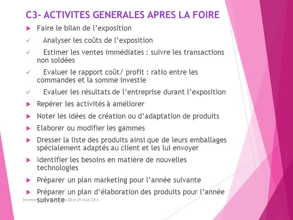 C3- ACTIVITES GENERALES APRES LA FOIRE