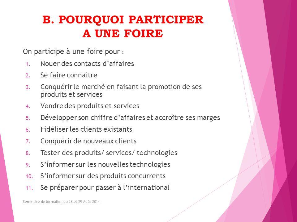 B. POURQUOI PARTICIPER A UNE FOIRE