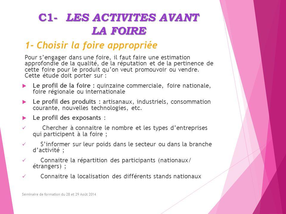 C1- LES ACTIVITES AVANT LA FOIRE