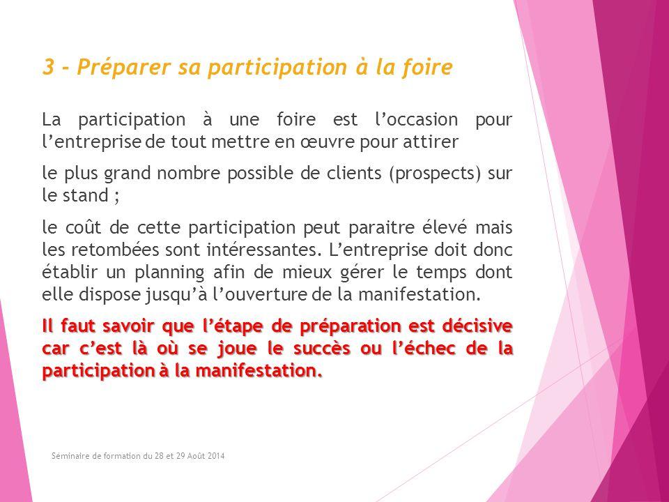 3 - Préparer sa participation à la foire