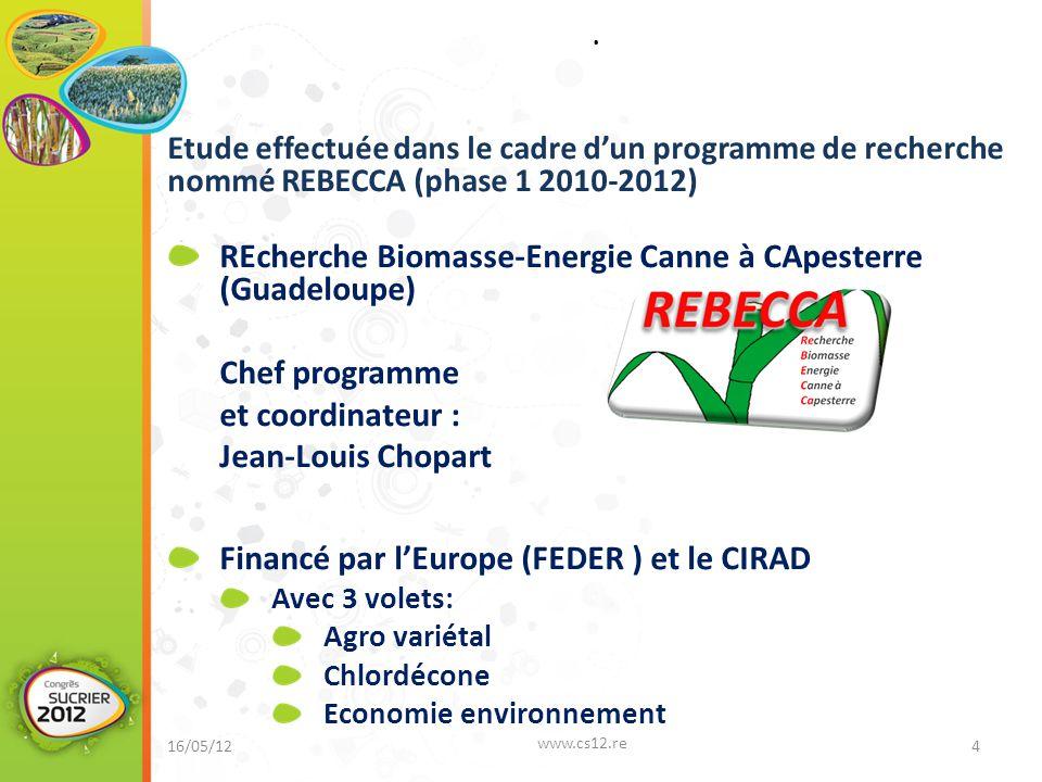 REcherche Biomasse-Energie Canne à CApesterre (Guadeloupe)