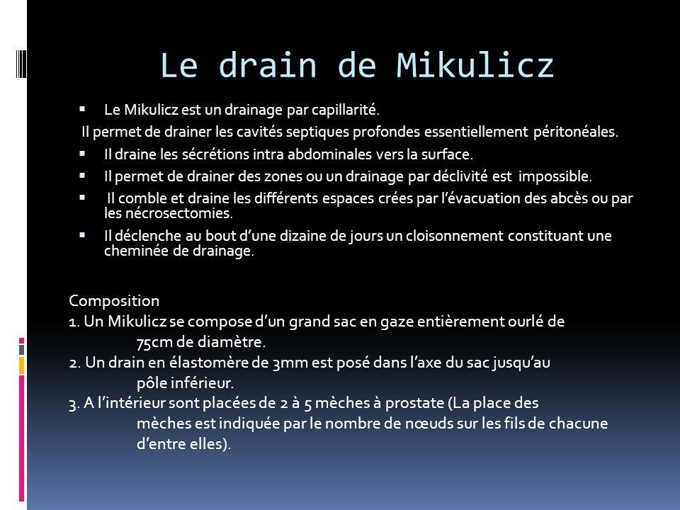 Le drain de Mikulicz Composition