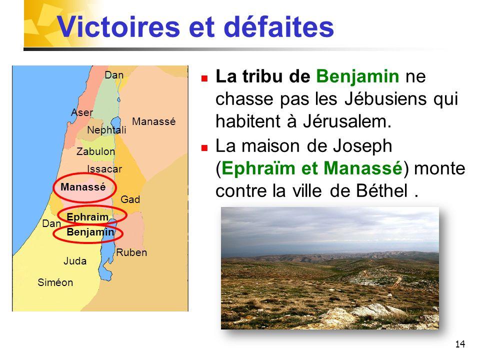 Victoires et défaites La tribu de Benjamin ne chasse pas les Jébusiens qui habitent à Jérusalem.