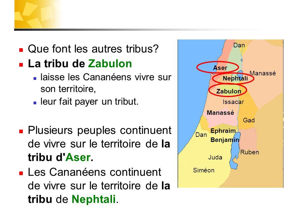 Que font les autres tribus La tribu de Zabulon