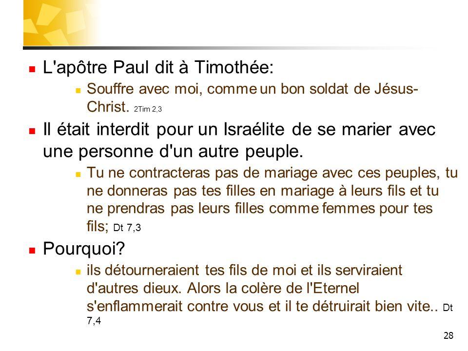 L apôtre Paul dit à Timothée: