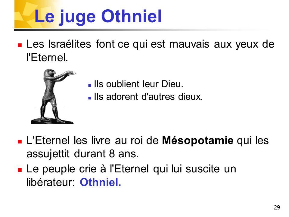 Le juge Othniel Les Israélites font ce qui est mauvais aux yeux de l Eternel. Ils oublient leur Dieu.