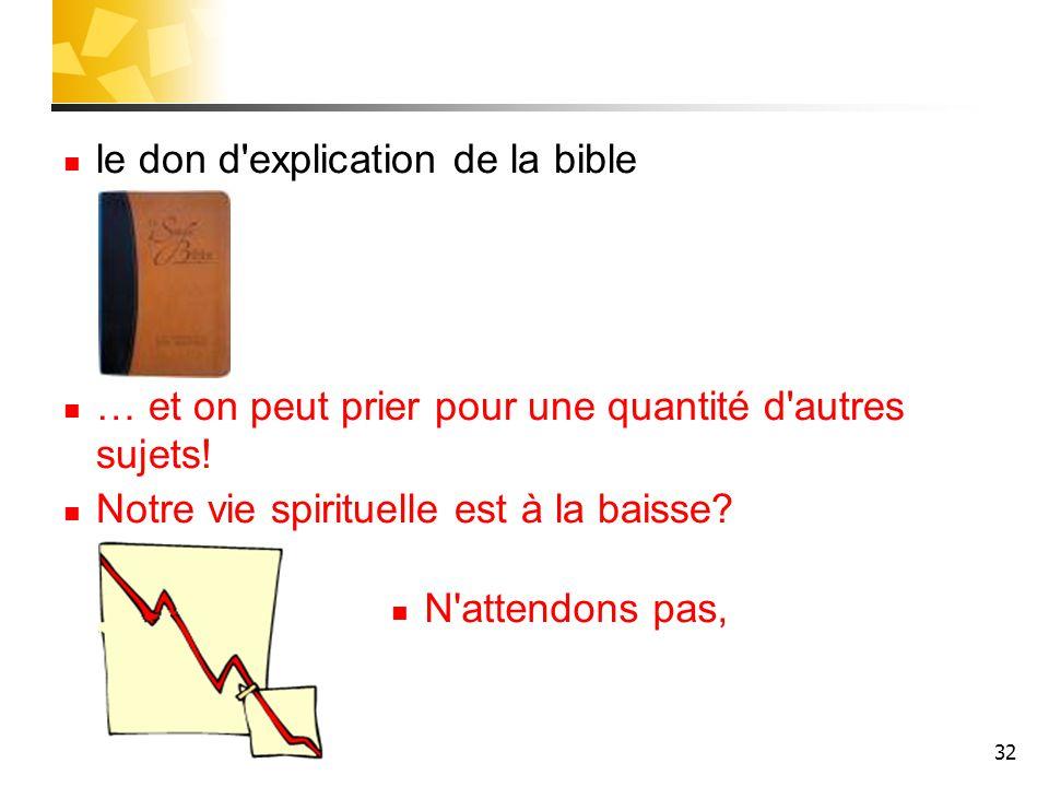 le don d explication de la bible