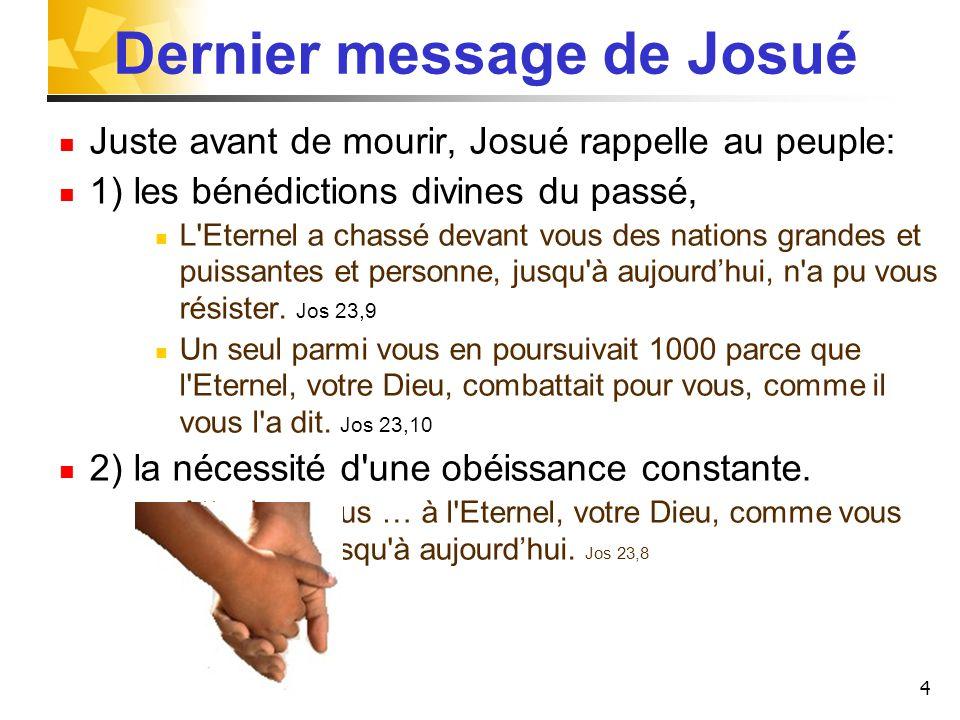 Dernier message de Josué