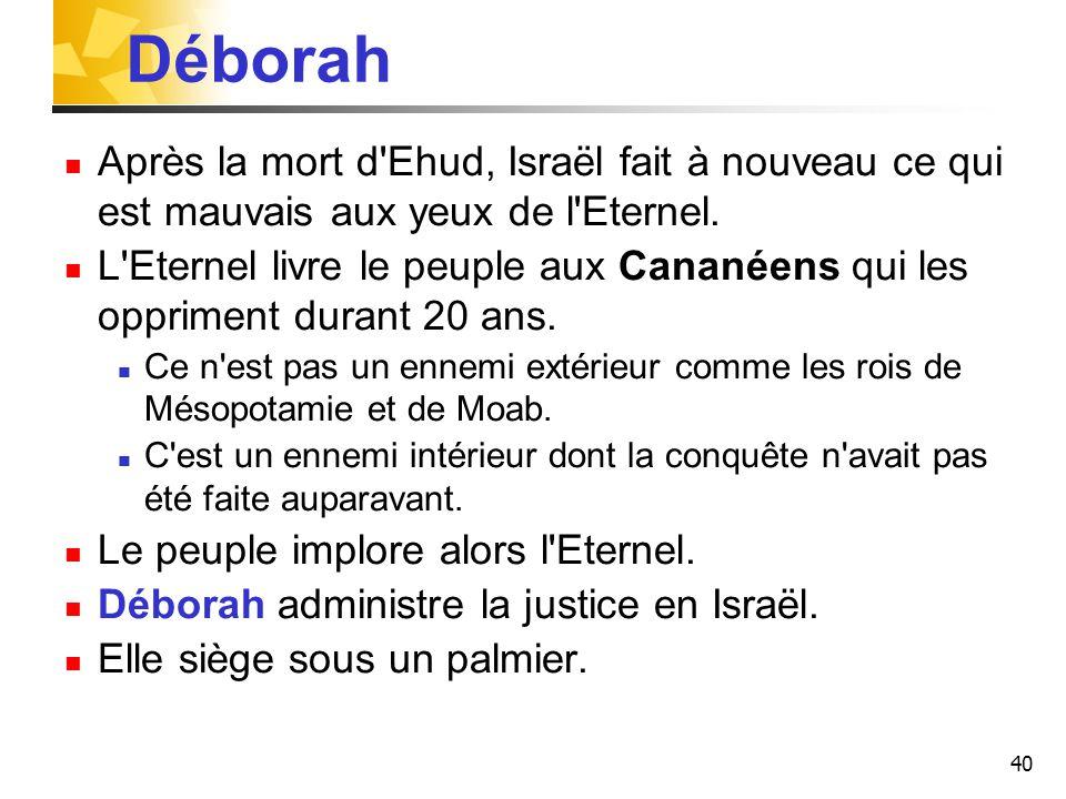 Déborah Après la mort d Ehud, Israël fait à nouveau ce qui est mauvais aux yeux de l Eternel.