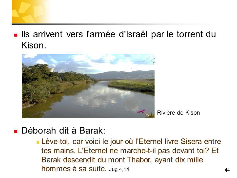 Ils arrivent vers l armée d Israël par le torrent du Kison.