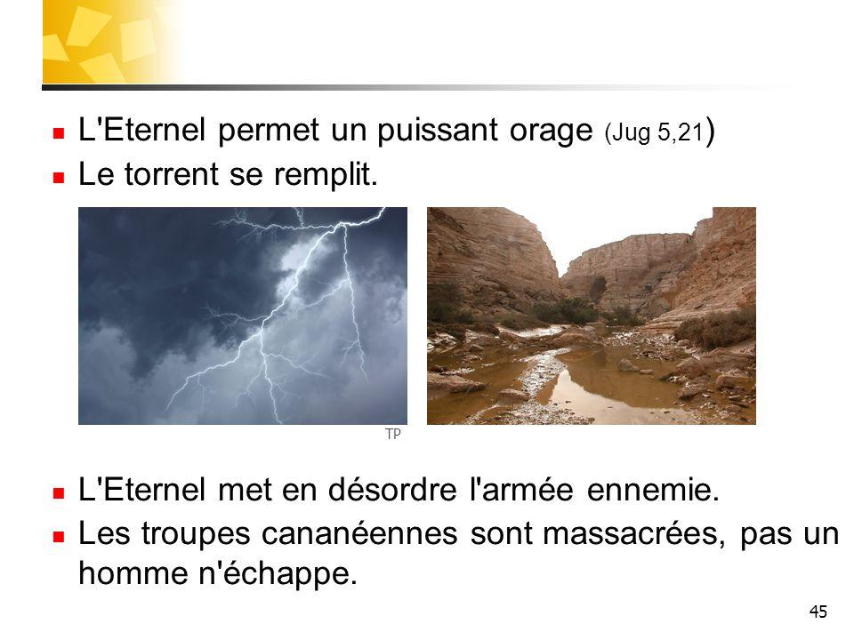 L Eternel permet un puissant orage (Jug 5,21) Le torrent se remplit.