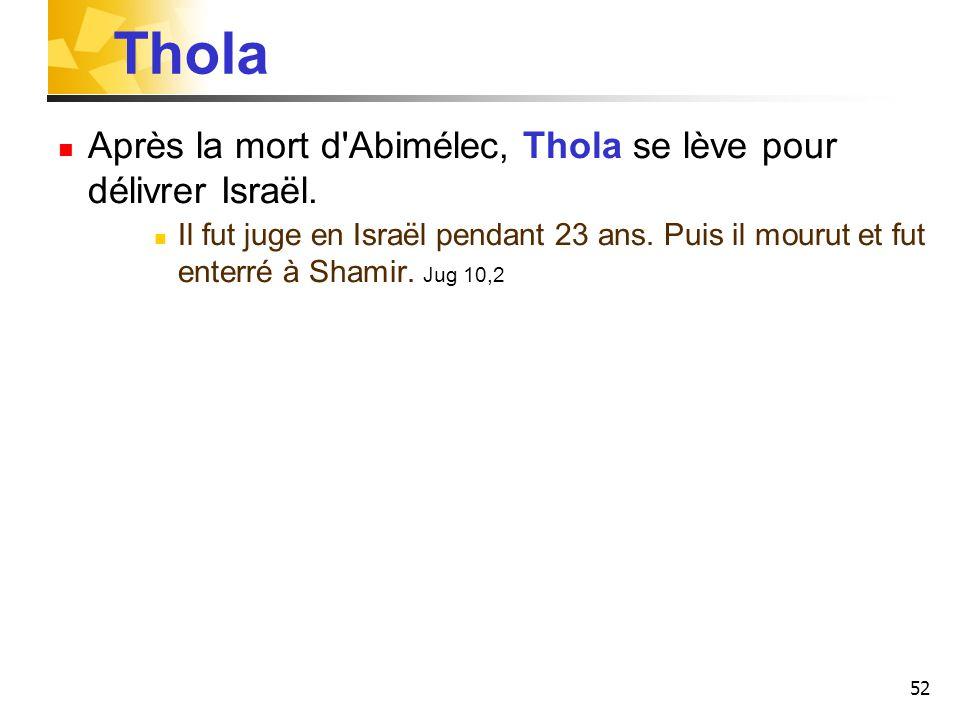 Thola Après la mort d Abimélec, Thola se lève pour délivrer Israël.