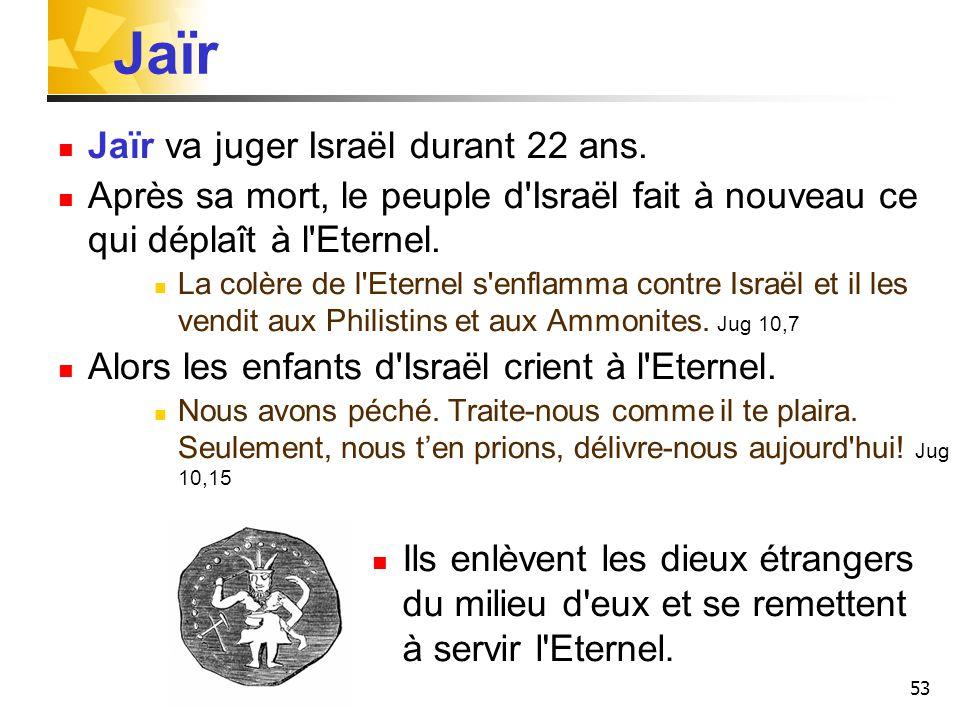 Jaïr Jaïr va juger Israël durant 22 ans.