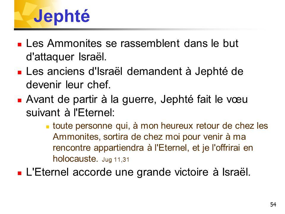 Jephté Les Ammonites se rassemblent dans le but d attaquer Israël.