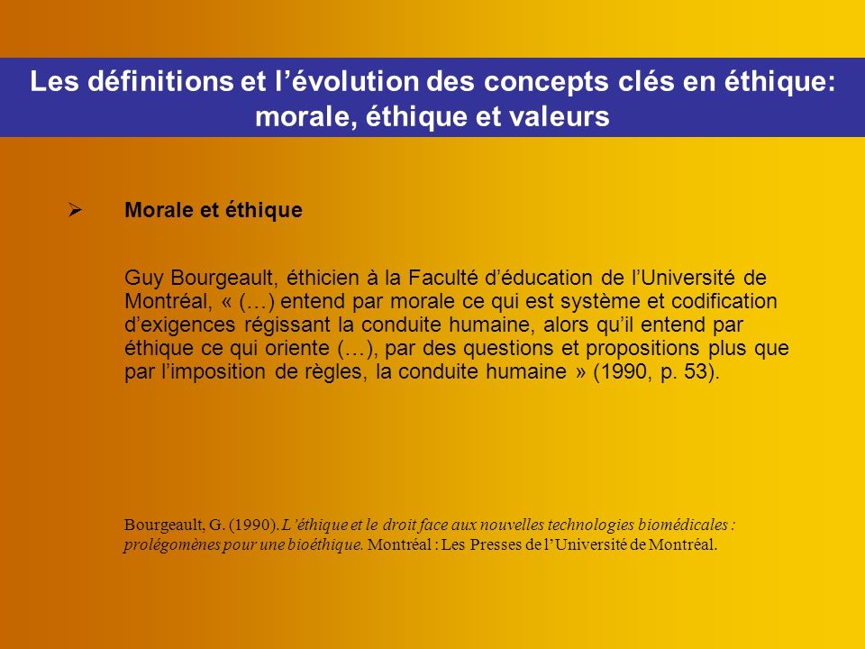 Les définitions et l'évolution des concepts clés en éthique: morale, éthique et valeurs