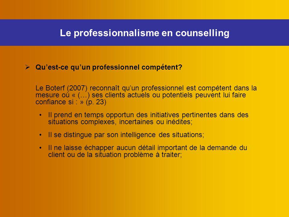 Le professionnalisme en counselling
