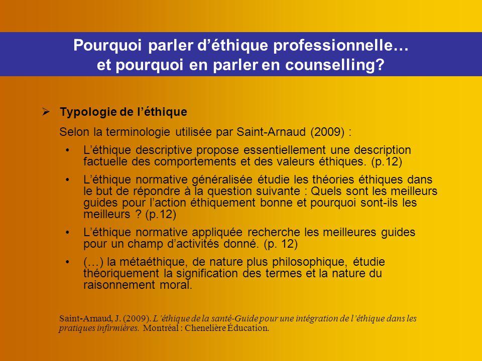 Pourquoi parler d'éthique professionnelle… et pourquoi en parler en counselling