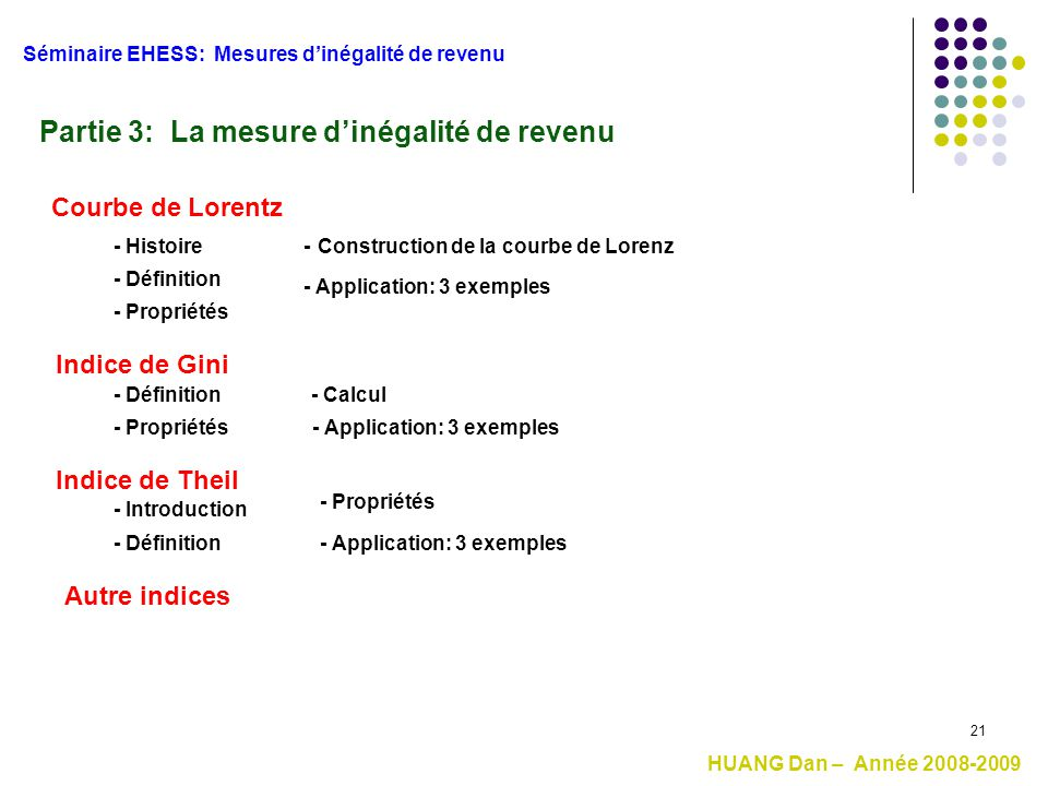 Partie 3: La mesure d'inégalité de revenu